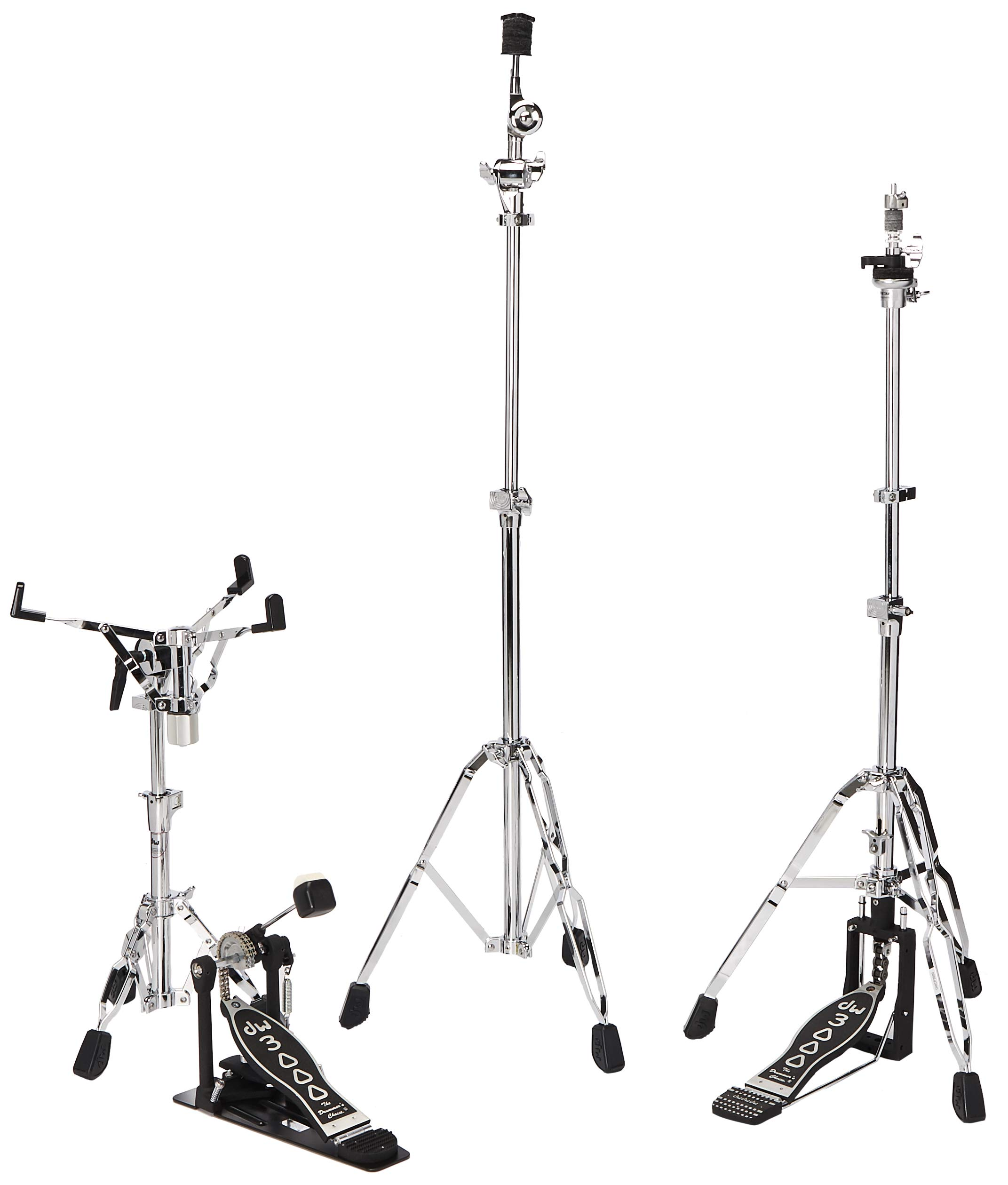 DW DWCP3000PK Drumset Hardware Pack with 3300 Snare Drum Stand, 3500 Hi-Hat Stand, 3700 Boom Cymbal Stand and 3000 Single Bass Drum Pedal by DW