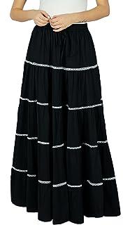 a25847a560 Bimba Womens Long Flaired Cotton Skirt Boho Maxi Bottoms Elastic Waist  Indian Clothing