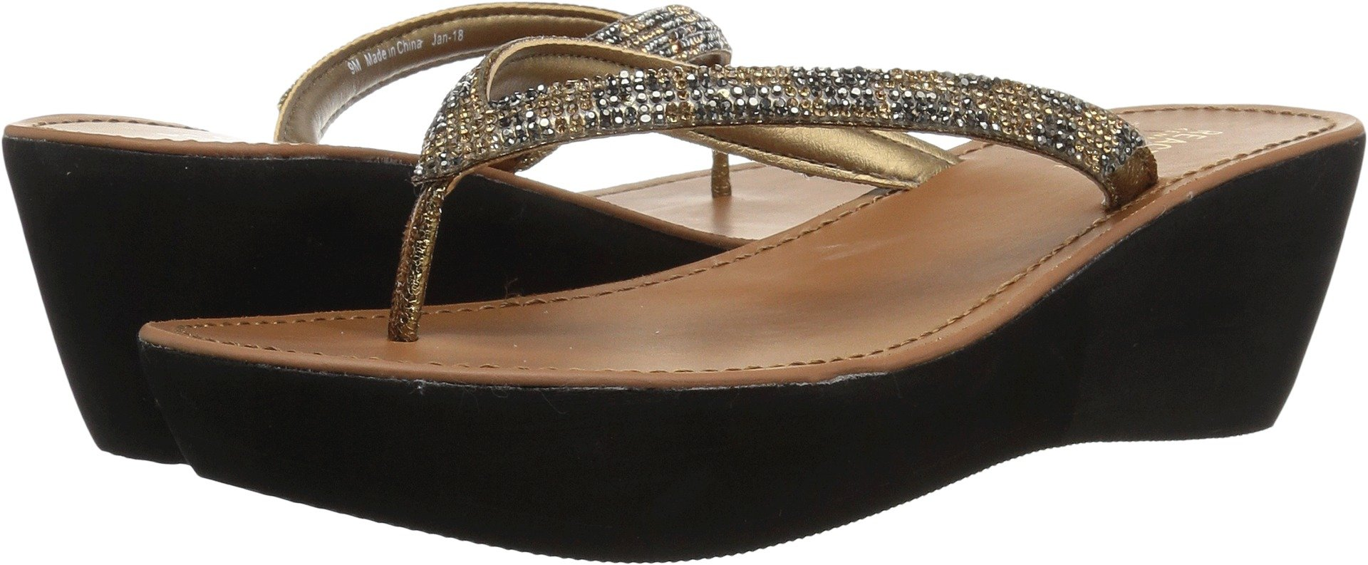 Kenneth Cole REACTION Women's Fine Sun Gltizy Platform Thong Wedge Sandal, Medal Gold, 7 M US