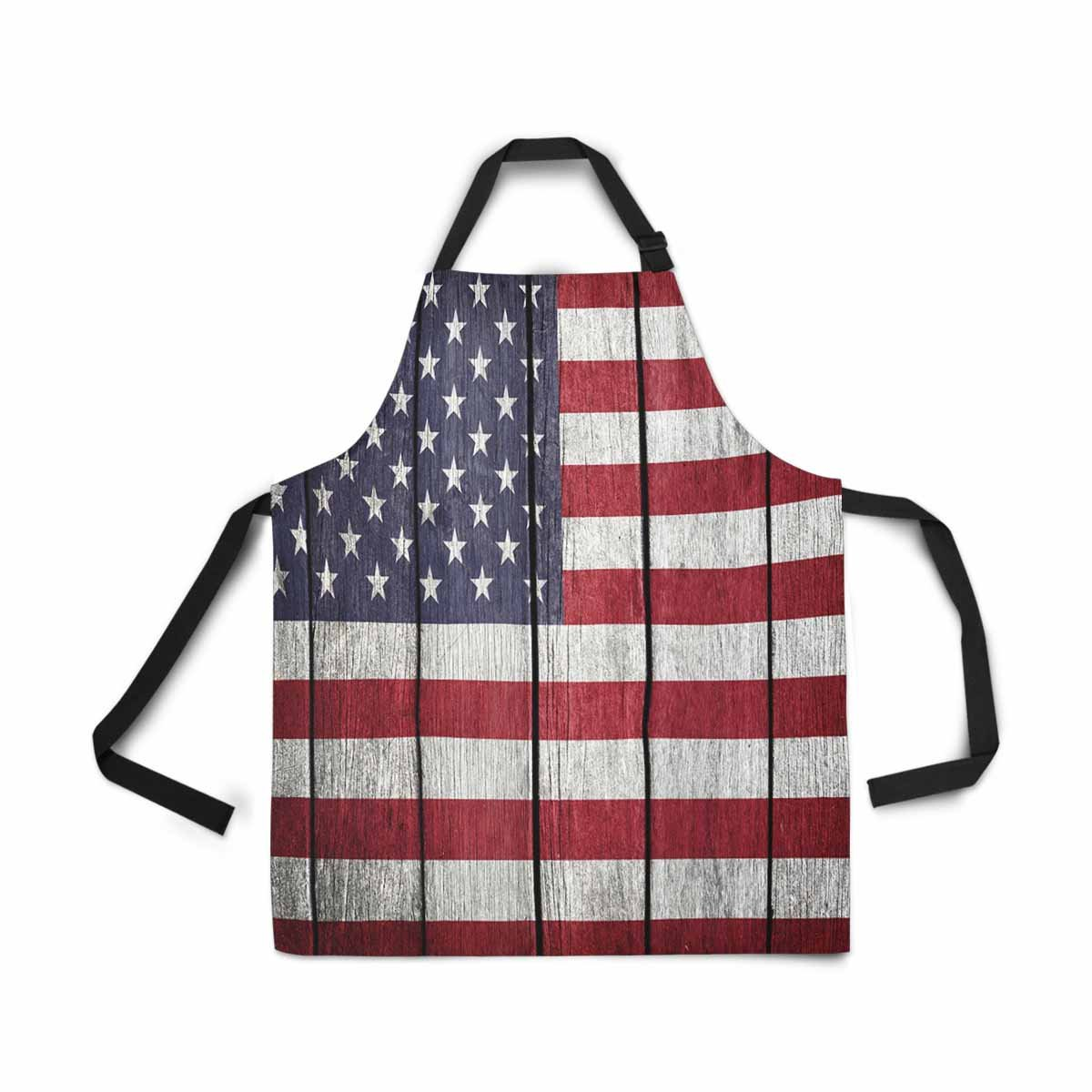 InterestPrint USA Flag United States of America Flag Old Wood Adjustable Bib Apron for Women Men Girls Chef with Pockets, Novelty Kitchen Apron for Cooking Baking Gardening Pet Grooming Cleaning