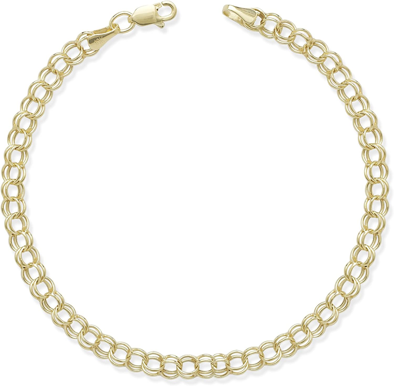 "10k Yellow Gold Double Link Charm Bracelet 7.25/"""