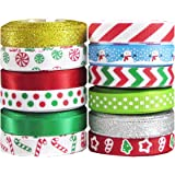 "Hipgirl 60 Yard 3/8"" Grosgrain Satin Fabric Ribbon Set For Christmas, Holiday, Winter Package Gift Wrapping, Hair Bow Clips & Accessories Making, Craft, Sewing, Wedding, Boy Girl Baby Shower. 12x5 yds"