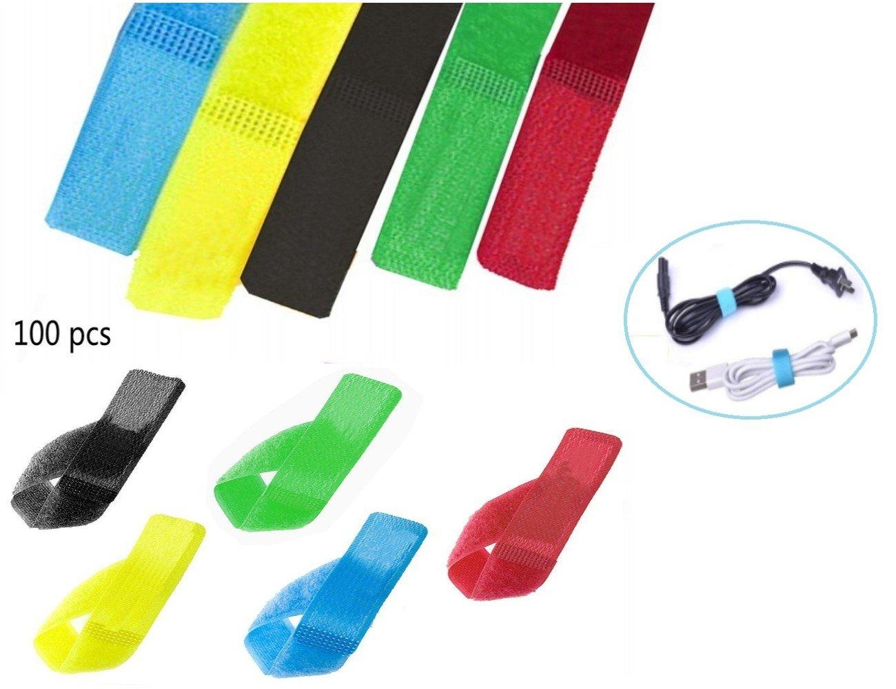 100pcs Nylon crochet et bande Velcro boucle, réutilisable auto-agrippant fixation encapsule des bretelles, attaches de câble bien rangé, cordon organisateur de câbles pour ordinateur portable Tablet