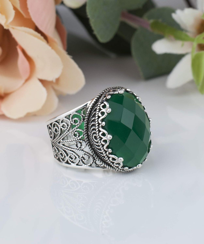 Vert Naturel Agate Gemstone Solid 925 sterling silver vintage Spider Ring