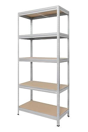 Hans Schourup 13501055 Estantería con 5 estantes de tablero DM, hasta 275 kg por balda, 180 x 75 x 35 cm, galvanizado