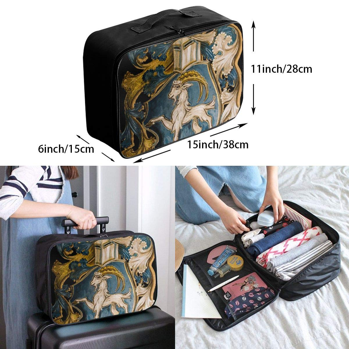 ADGAI Constellation Capricorn Canvas Travel Weekender Bag,Fashion Custom Lightweight Large Capacity Portable Luggage Bag,Suitcase Trolley Bag