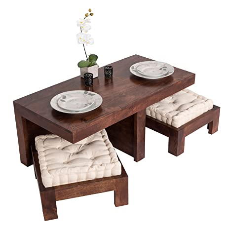 Homescapes Dark Wood Dakota 3 Piece Coffee Table Set With 2 Stools