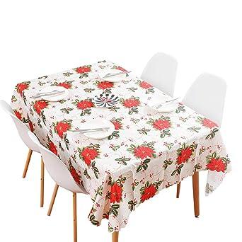 Amosfun - Mantel de flores de Navidad, decoración de mesa roja ...