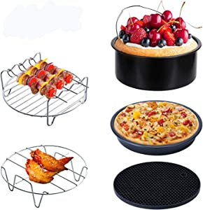 Geisofu Air Fryer Accessories, 5PCS Deep Fryer Accessory Kits for Gowise Phillips Cozyna Fit all 3.7QT - 5.8QT Power Deep Hot Air Fryer With Pizza Pan,Cake Barrel (5PCS)