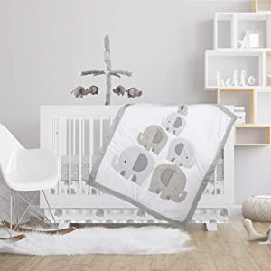 Lolli by Lolli Living 4-Piece Baby Bedding Crib Set with Bailey Elephant Pattern. Complete Set with Quilt, 2 Fitted Sheets, and Bed Skirt