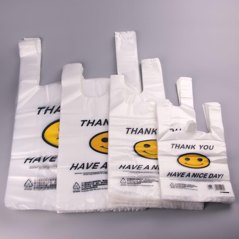 透明笑脸袋背心袋方便马甲塑料袋中大号超市购物袋子加厚 (38*58
