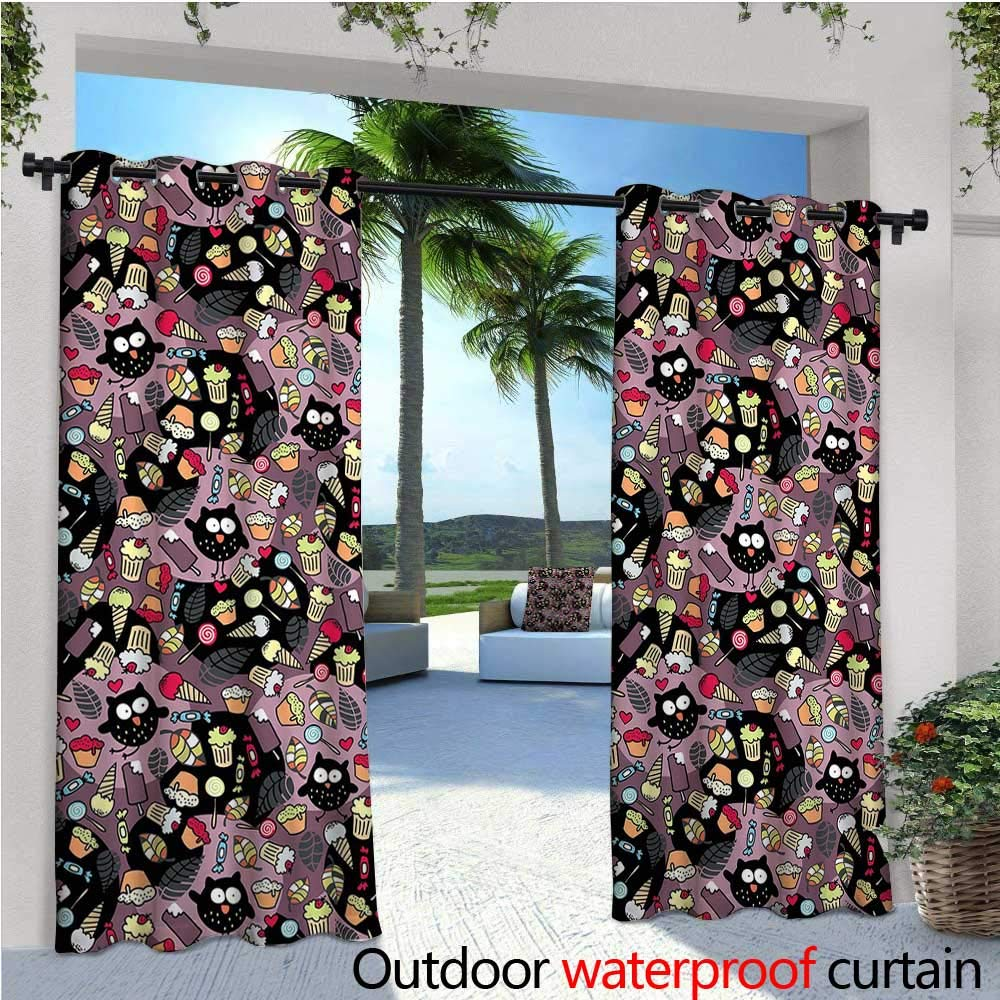cobeDecor Owls Patio Curtains Crazy Owls and Tasty Delicious Sweets Cupcakes Ice Cream Candy and Abstract Leaves Outdoor Curtain for Patio,Outdoor Patio Curtains W108 x L96 Multicolor by cobeDecor