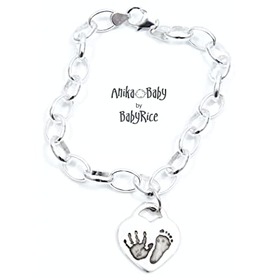 154418c2b BabyRice Solid Sterling Silver Heart Charm Your Baby's Handprint Footprint,  Belcher Chain Bracelet: BabyRice: Amazon.co.uk: Jewellery