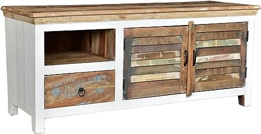 Woodkings Tv Bank Perth Weiss 2turig Recyceltes Massivholz Antik Tv Unterschrank Vintage Design Tv Mobel Schublade Holzmobel Amazon De Kuche Haushalt