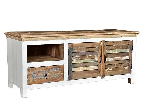 Woodkings® TV de Banco Perth Color Blanco, 2türig, Papel ...