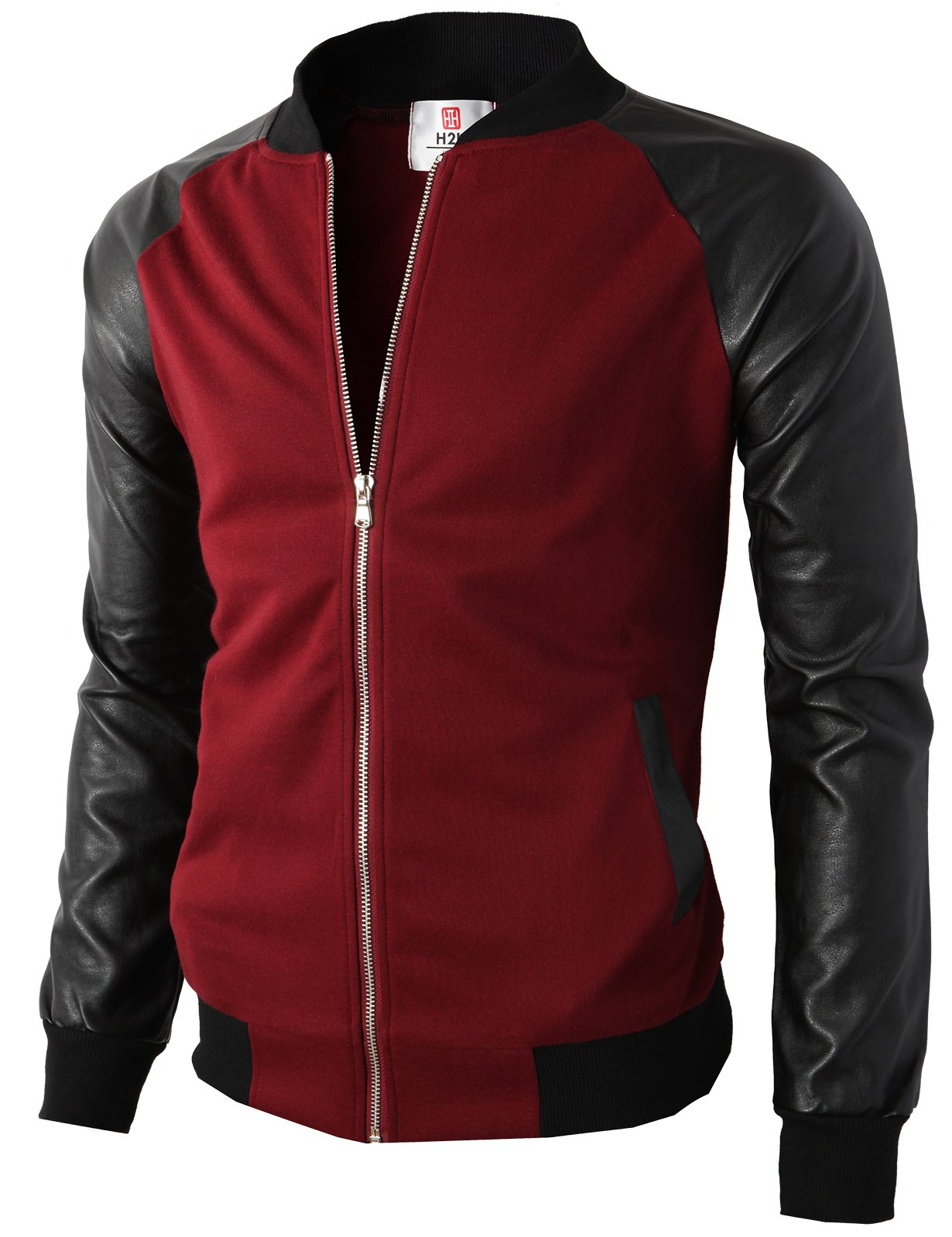 H2H Mens Casual Premium Quilted Lightweight Zip up Varsity Jacket Wine US XL/Asia 2XL (KMOJA0126) by H2H