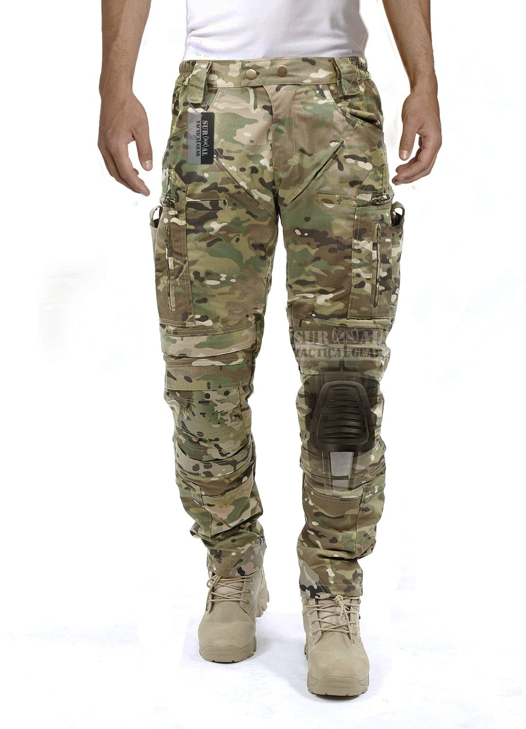 Survival Tactical Gear Men's Airsoft Wargame Tactical Pants with Knee Protection System & Air Circulation System (Multicam Camo, S) by Survival Tactical Gear