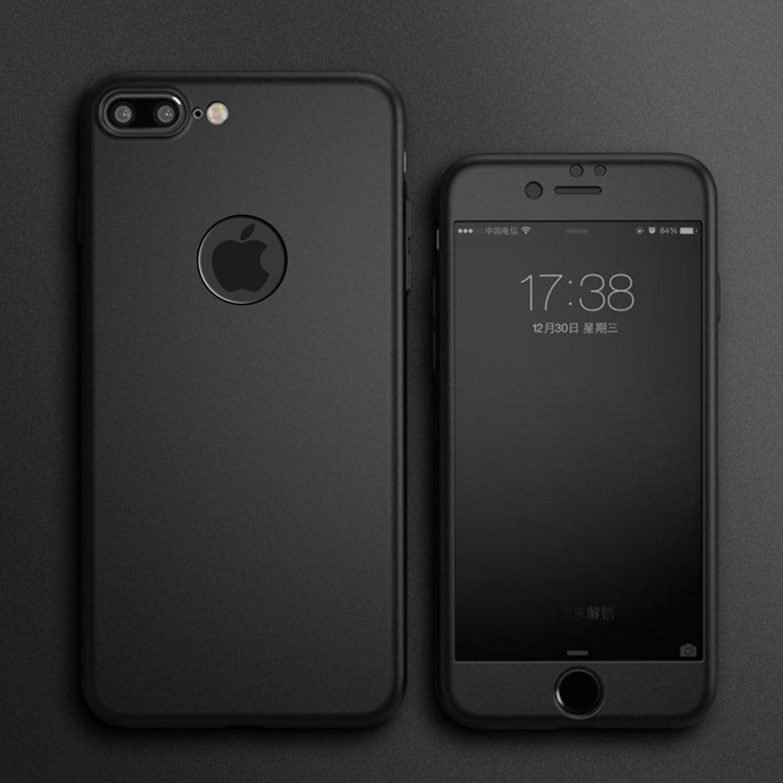 Cover iPhone 7 360 Gradi Pellicola Vetro Temperato, [ 360 ° ] [ Nero ] Custodia iPhone 7 360 Gradi Pellicola Protettiva in Vetro Temperato per ...