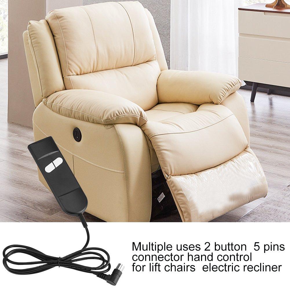 Yosoo Múltiples Usos 2 Botón 5 Pines del Conector de Control de grúa de sillas eléctricas reclinable