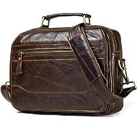 Contacts Bolso bandolera de piel auténtica para hombre, para viajes, iPad de 12 pulgadas, color marrón