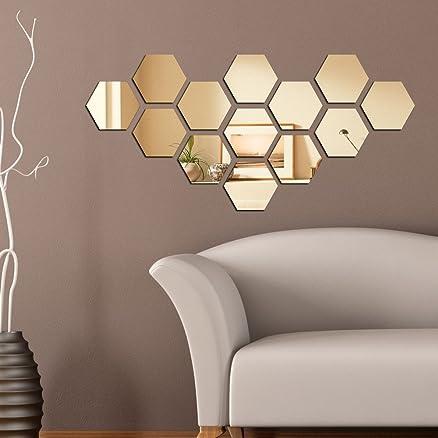 Dakshita   Hexagon Golden (pack Of 13) 3D Mirror, 3D Acrylic Mirror Stickers Part 63