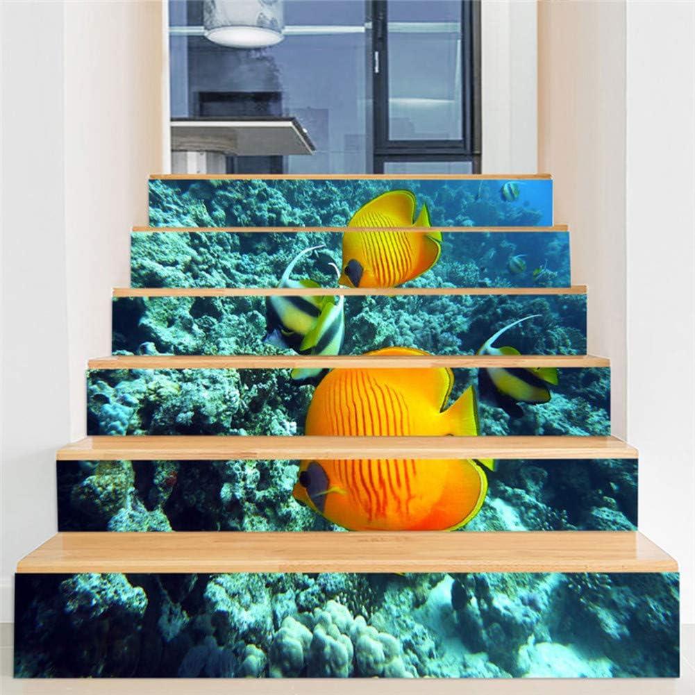 wei Etiquetas engomadas de la Escalera de la Personalidad, Patrón de Mundo Submarino Inicio Infantiles Pasillo escaleras a Prueba de Agua Pegatinas-G: Amazon.es: Hogar