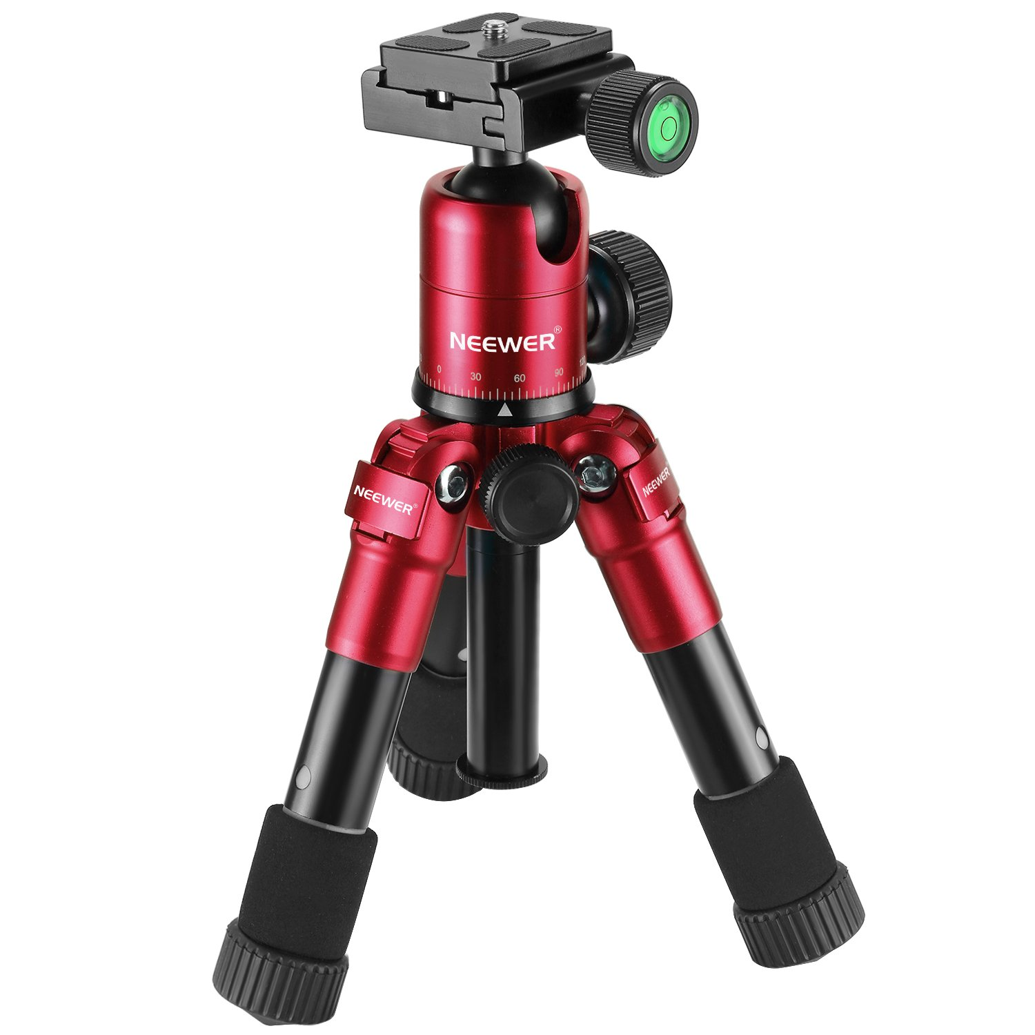 Neewer 20 inches/50 centimeters Portable Compact Desktop Macro Mini Tripod with 360 Degree Ball Head,1/4 inches Quick Shoe Plate,Bag for DSLR Camera,Video Camcorder,up to 11 pounds/5 kilograms Red by Neewer