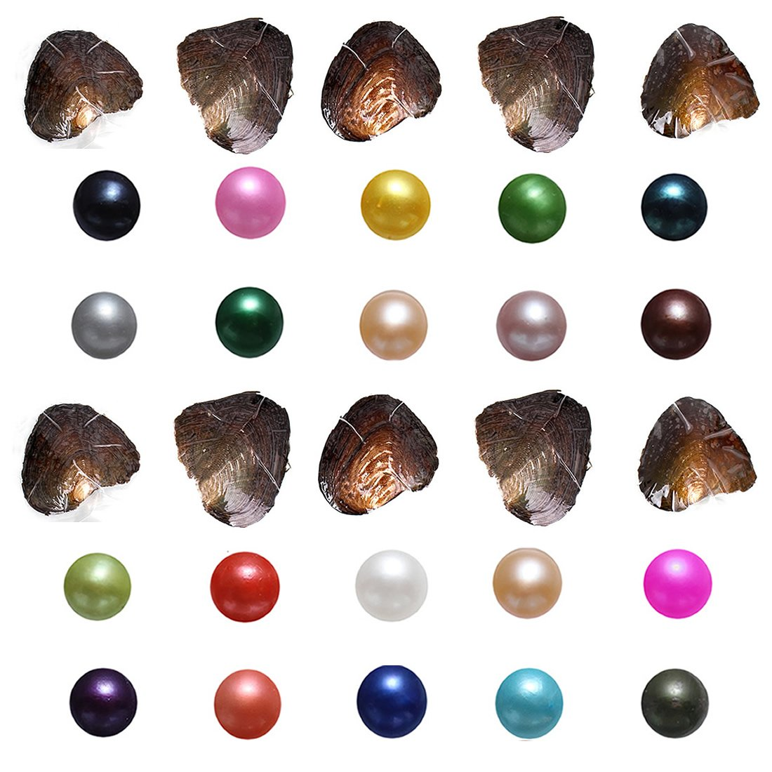 Unbrand Freshwater Cultured Pearl Oyster Round Freshwater Pearl Mixed Colors 7-8mm Oysters with Pearls Inside