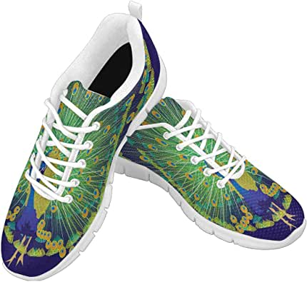 Zenzzle Women's Running Sneakers Beautiful Peacock on Dark Blue backgroud Pattern Casual Lightweight Athletic Sneakers