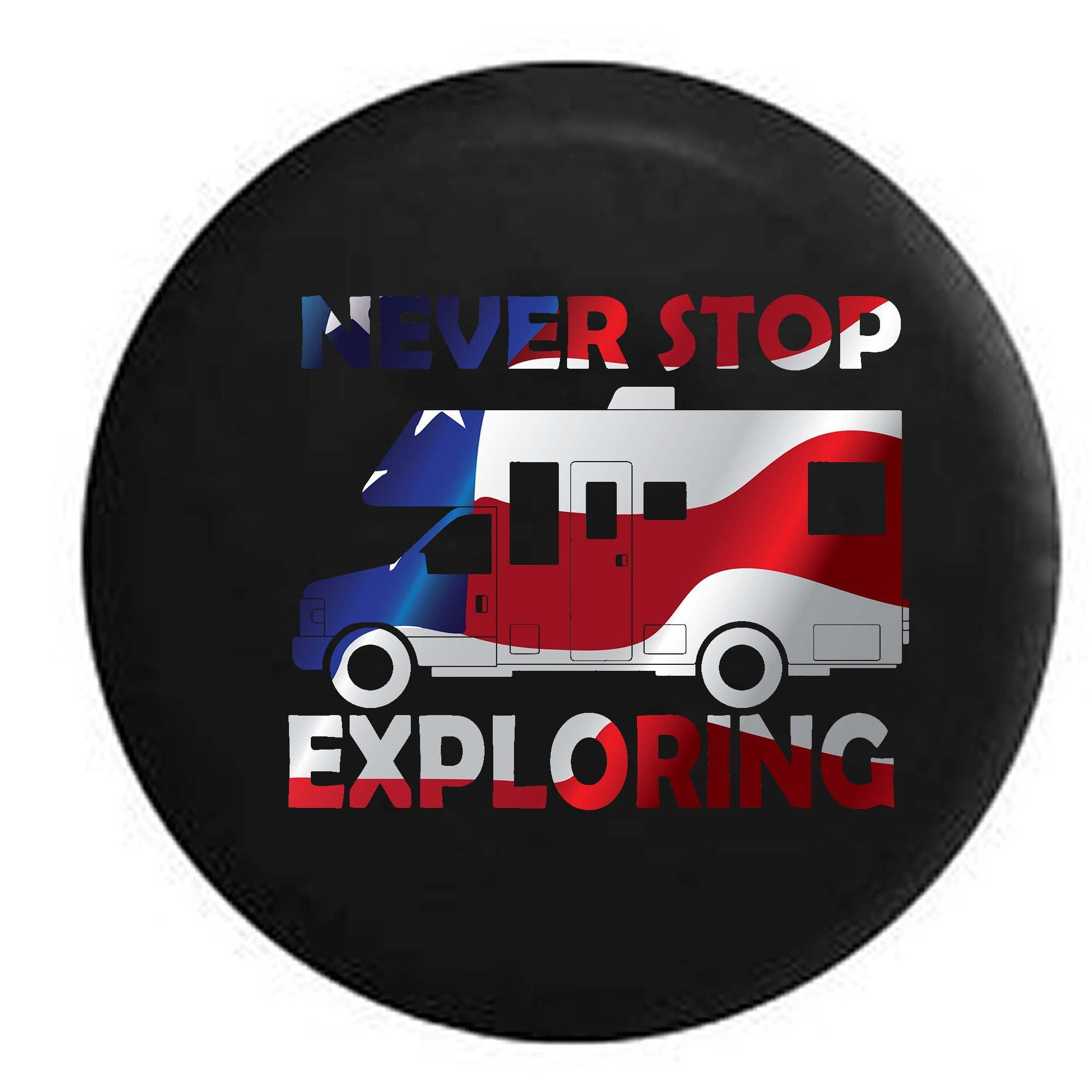 Pike Outdoors Flag - Never Stop Exploring RV Motorhome Travel Spare Tire Cover OEM Vinyl Black 29 in by Pike Outdoors