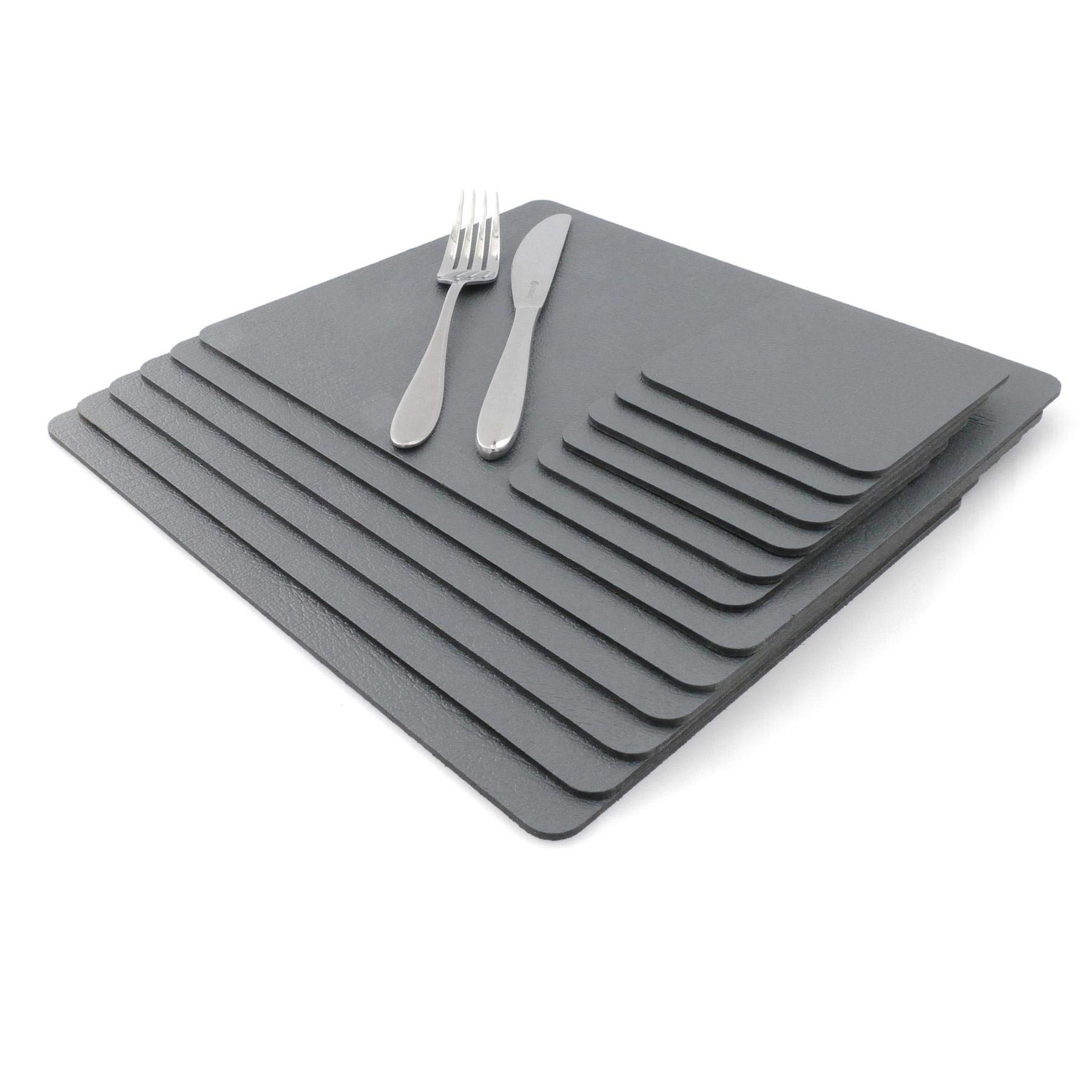 Sets of 6 Slate Grey Recycled Leather Placemats 28cm x 21cm and 6 Leather Made