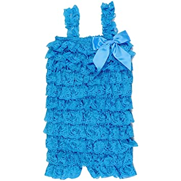 329e05750992 Hairbows Unlimited Baby Toddler Girls Lace Ruffle Petti Romper for Infant  to 2-4t (