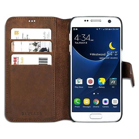 KANVASA Funda Galaxy S7 Cartera Piel Marrón Vintage Carcasa Tipo Libro Folio en Cuero Piel Genuina para Samsung Galaxy S7 Original Estuche Funda con 4 ...