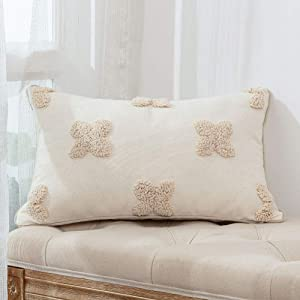 Boho Moroccan Decorative Throw Pillow Cover 12X20 Inch, Tufted Square Pillow Case for Couch Sofa Outdoor Bedroom Living Room, Farmhouse Pillow Cover Home Decor