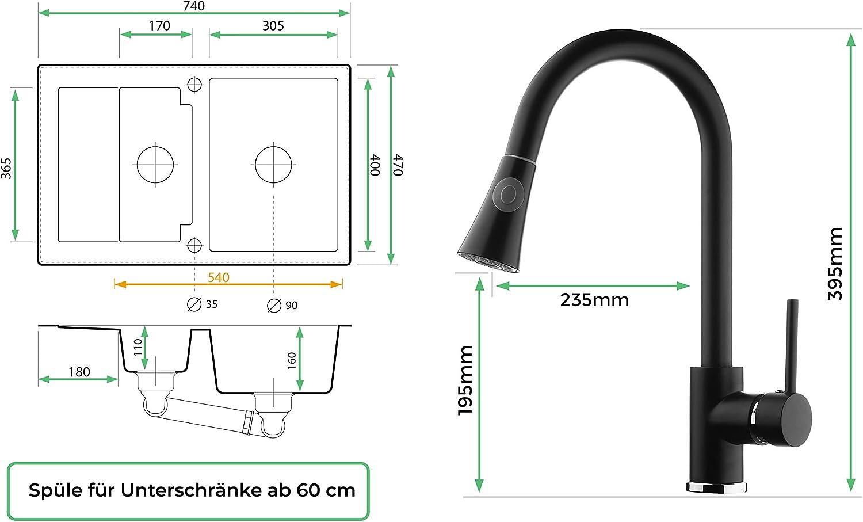 Drehexcenter Siphon Armatur 3000 Hochdruck Schrankbreite ab 60 cm 1.5-Becken Sp/ülbecken Granitsp/üle schwarz K/üchensp/üle