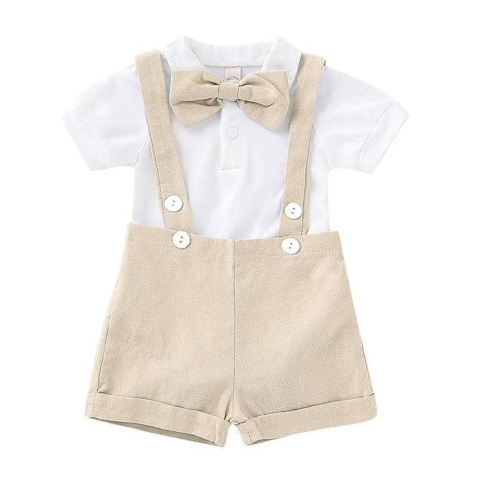 Amazon.com: Conjunto de trajes de manga corta con corbata y ...