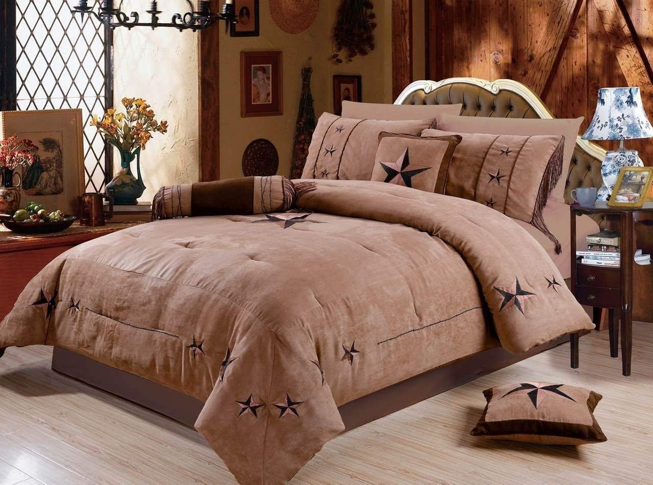 Rustic 7 Piece Luxury Beautiful Embroidery Western Texas Lone Star Lodge Oversize Micro Suede Comforter Set Light Dark Brown Bedding Set (Queen)