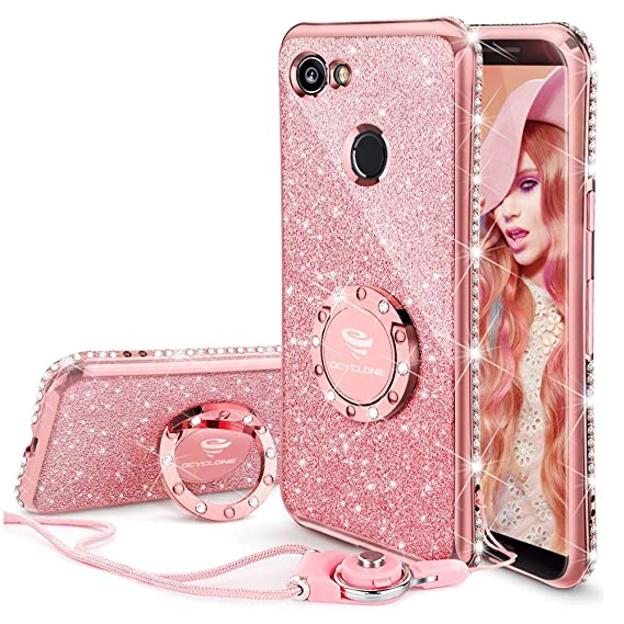 big sale 6060b 6b834 Google Pixel 2 XL Case, Glitter Bling Diamond Rhinestone Bumper Cute Pixel  2 XL Phone Case for Girls with Ring Kickstand Sparkly Protective Google ...