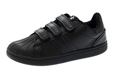 1c8e89816902c NEW KIDS BOYS GIRLS BLACK SCHOOL SHOES TRAINERS PUMPS FOOTBALL TENNIS Hook  And Loop STRAPS SIZE 8 - 2
