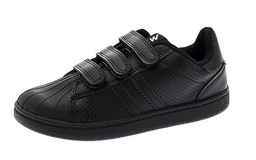 Zapatillas de deporte de cuero de imitación de Strong Souls, para niños y niñas con cierre táctil, color Negro, talla 25,5 EU Niño: Amazon.es: Zapatos y ...