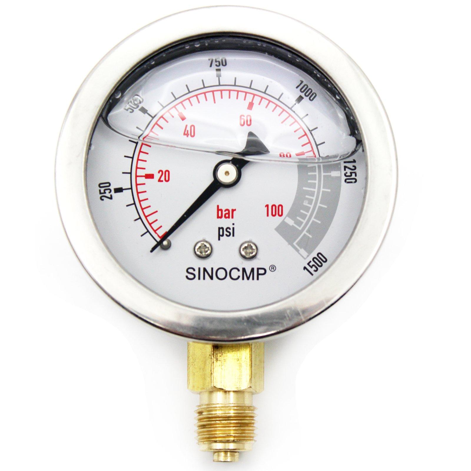 Hydraulic Pressure Gauge - SINOCMP 10Mpa/0-100Bar/0-1500PSI Economical Multi Purpose Double Scale Stainless Steel Glycerin Filled Gauge
