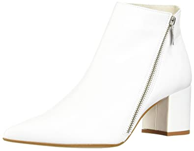2c2dc72040dc8 Kenneth Cole New York Women's Hayes Diagonal Side Zip Ankle Bootie Boot,  White, 8 M US