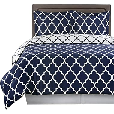 sheetsnthings Geometric Print, 250 Thread Count, 100-Percent Cotton, King/California King Size Duvet Cover Set (Navy With White) 3-Piece Reversible Bedding Set