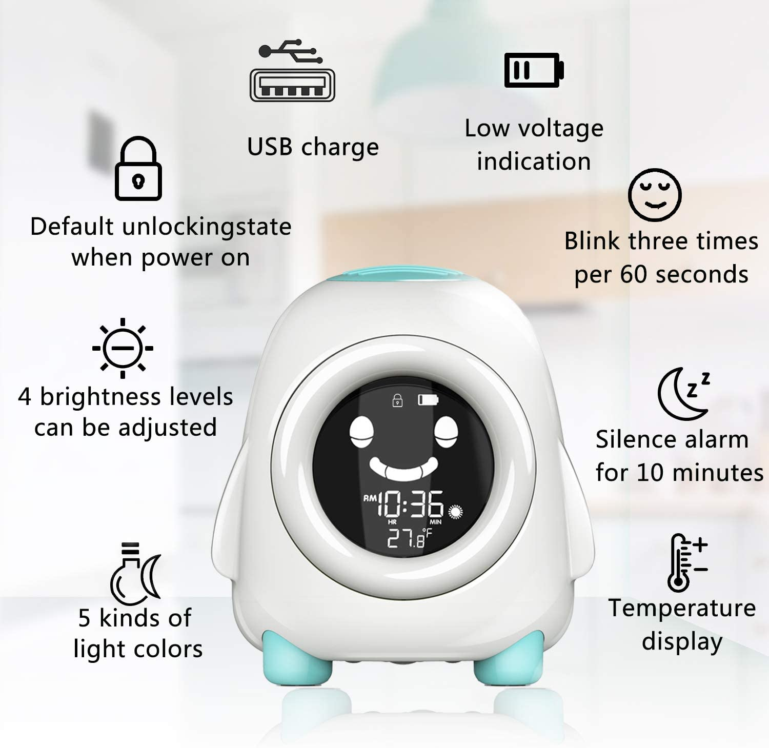 Geevon Ready to Rise Childrens Trainer Kids Room Clock 5 Colors Changing for Boys Girls Bedroom Temperature Calendar Music