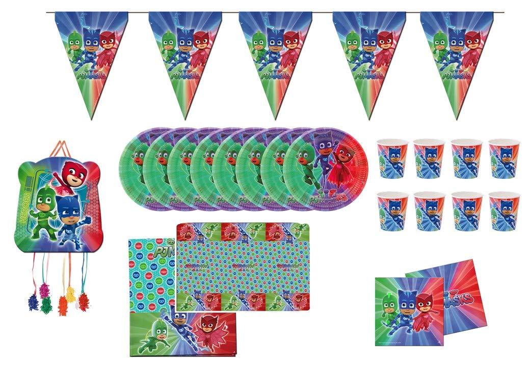 PJ Masks 0761, Pack Fiesta y cumpleaños 1 piñata 1 banderin (3metros), 1 Mantel plástico 120x180 cm, 20 servilletas, 8 Platos 23 cm, 8 Vasos