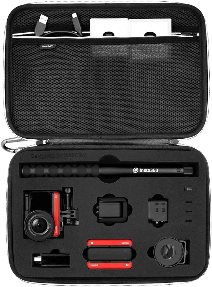 MAXCAM Carrying Case Compatible with Insta360 ONE R + Invisible Selfie Stick + Battery Charge Hub + Multiple Lens Related Accessories(Insta360 ONE R and Accessories are NOT Included)