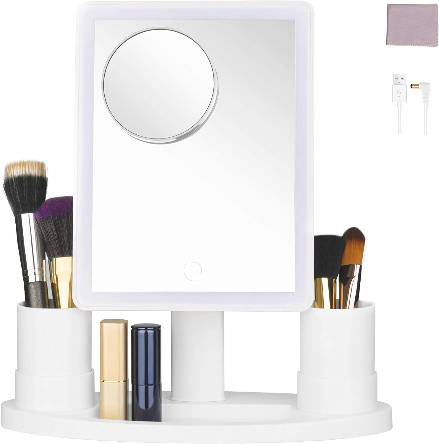 Makeup Mirror with Lights, Lighted Makeup Vanity Mirror with 10X Magnification and CosmeticBrush Organizer, Dimmable Natural Light, Dual Power Supply