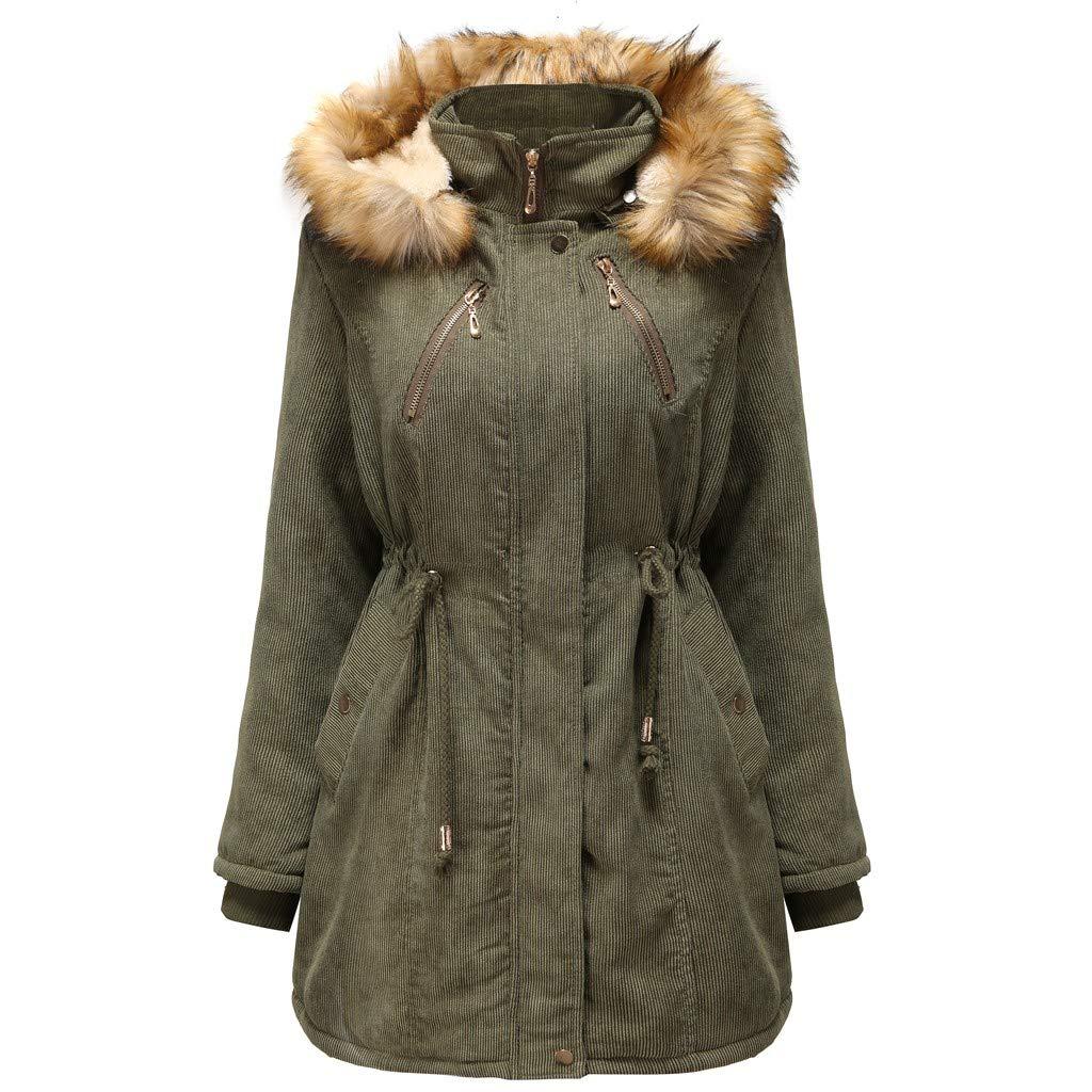 Pandaie Women Winter Jacket Parka Coat Long Windbreaker Hooded Warm Lined Plush Quilted Down Jacket Outwear Army Green by Pandaie