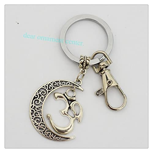 Colgante Cresent Luna Yoga Jewelry Plata Om Llavero: Amazon ...