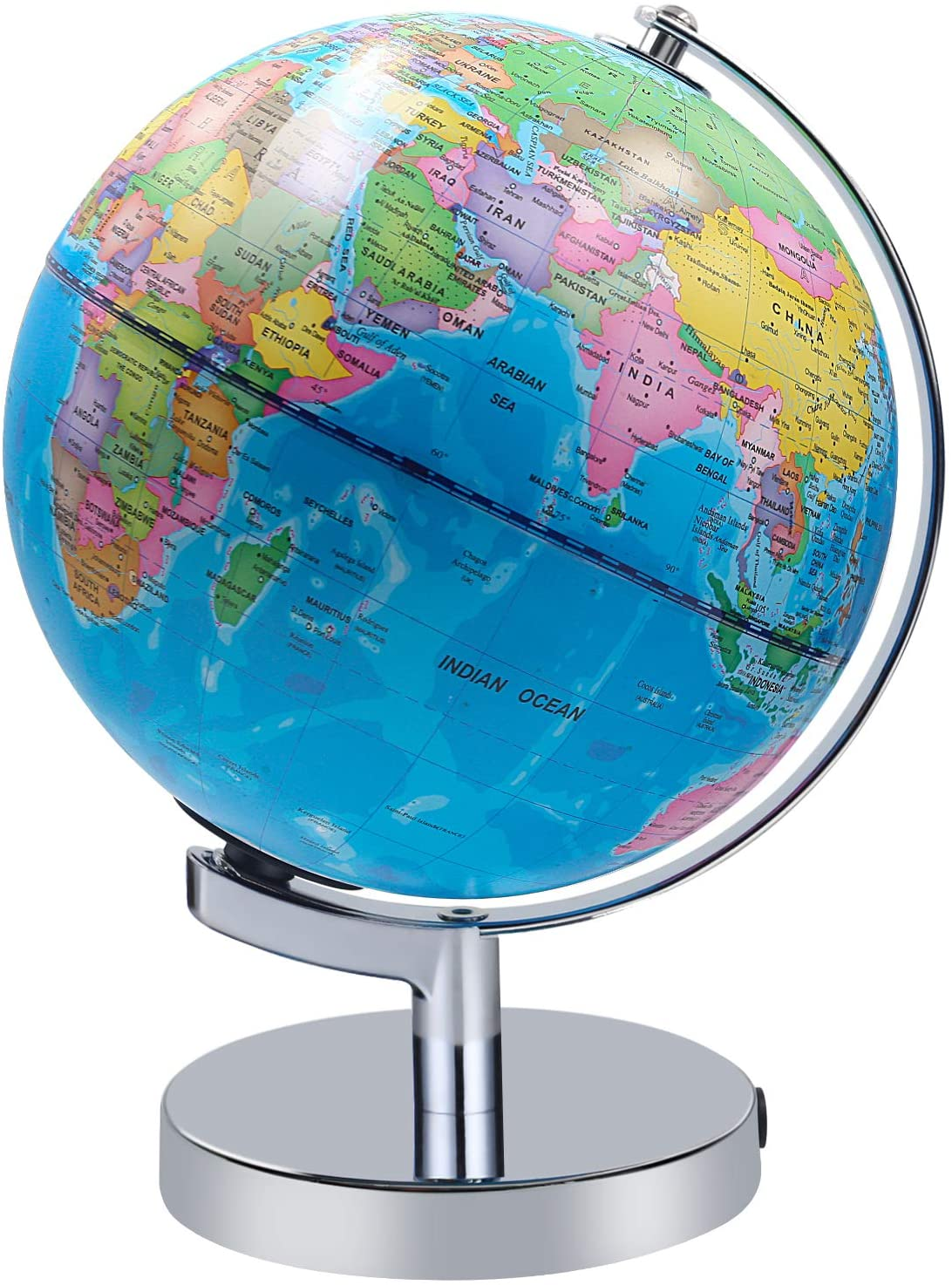 Illuminated World Globe for Kids, Educational Globe with Stand Built in LED Night Light Earth Map and Constellation View, 2 in 1 Interactive Educational Geographic Earth Globe Learning Toy, 8 Inch
